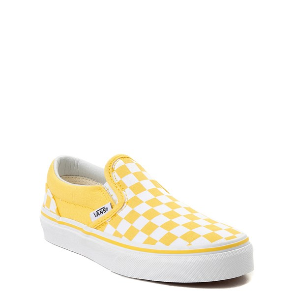 alternate view Vans Slip On Checkerboard Skate Shoe - Little Kid / Big Kid - Aspen Gold / WhiteALT1