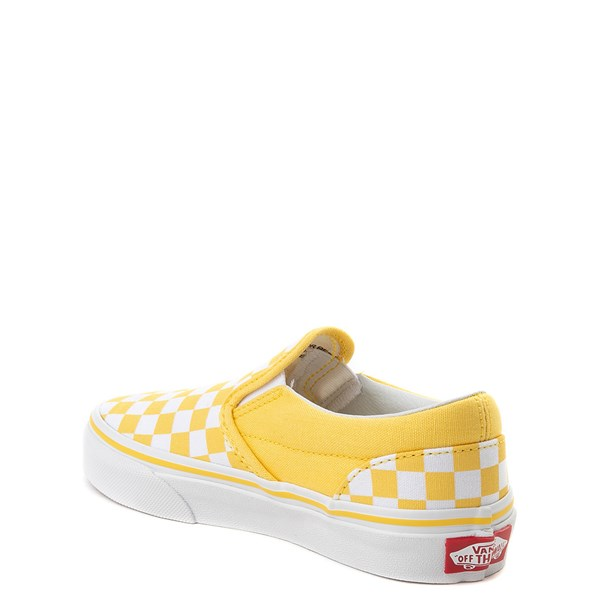 alternate view Vans Slip On Checkerboard Skate Shoe - Little Kid / Big Kid - Aspen Gold / WhiteALT2