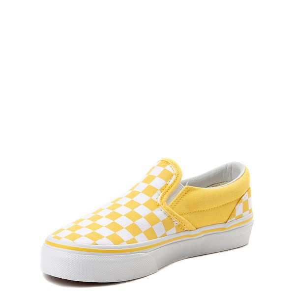 alternate view Vans Slip On Checkerboard Skate Shoe - Little Kid / Big Kid - Aspen Gold / WhiteALT3