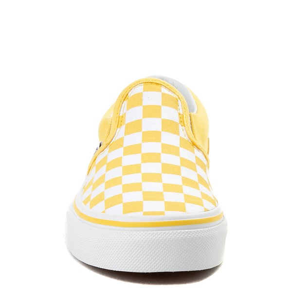alternate view Vans Slip On Checkerboard Skate Shoe - Little Kid / Big Kid - Aspen Gold / WhiteALT4
