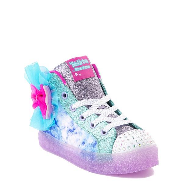 alternate view Skechers Twinkle Toes Shuffle Brights Sneaker - Little Kid - Blue / SilverALT2