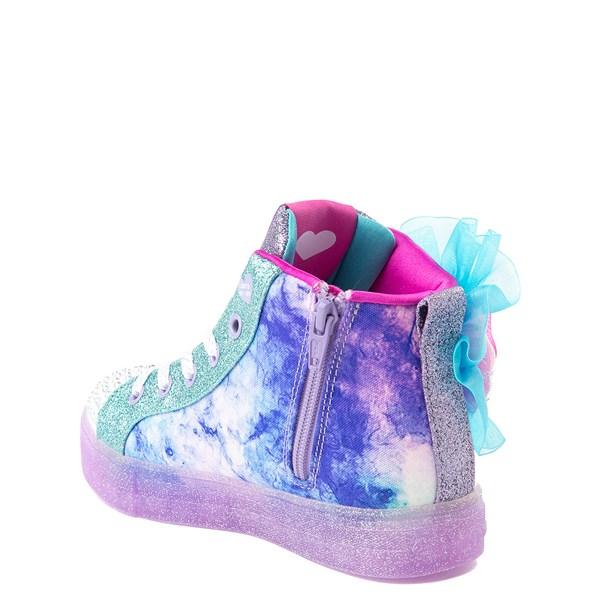 alternate view Skechers Twinkle Toes Shuffle Brights Sneaker - Little Kid - Blue / SilverALT3