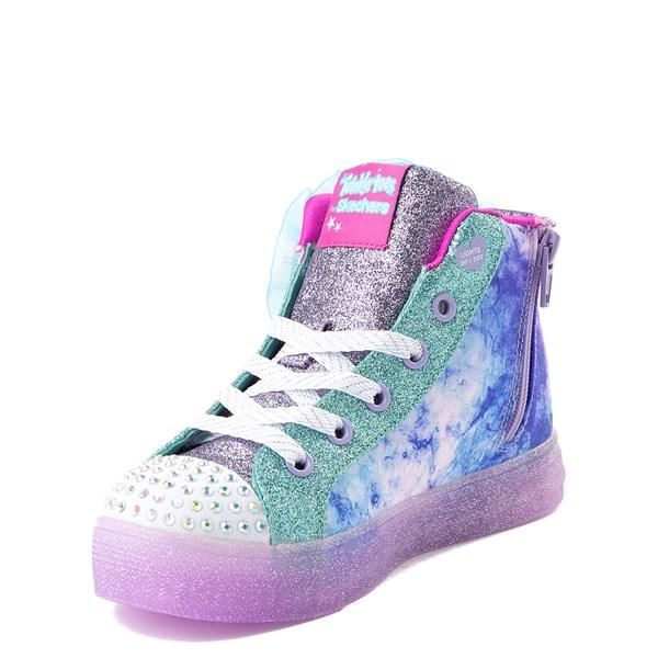 alternate view Skechers Twinkle Toes Shuffle Brights Sneaker - Little Kid - Blue / SilverALT4