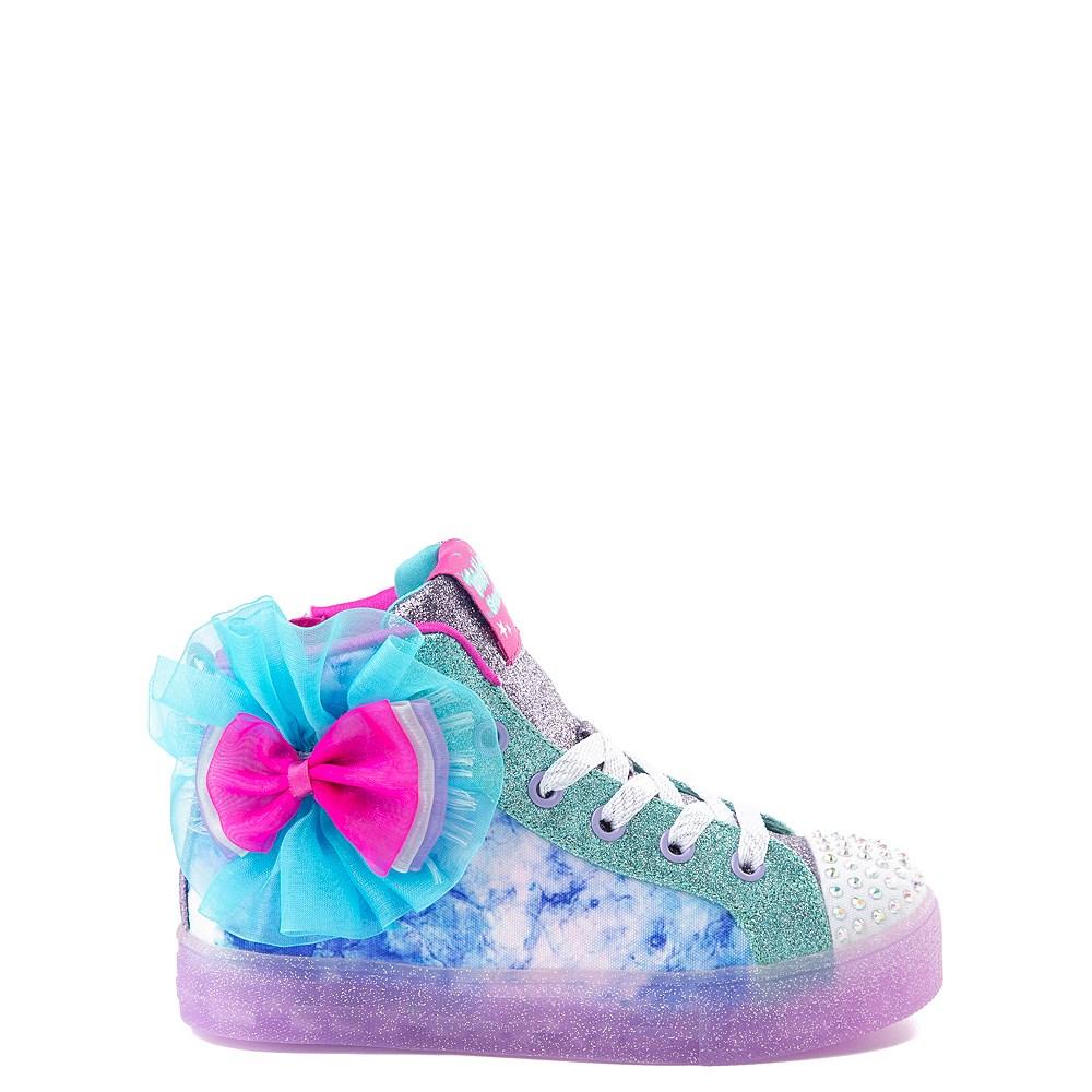 Skechers Twinkle Toes Shuffle Brights Sneaker - Little Kid - Blue / Silver