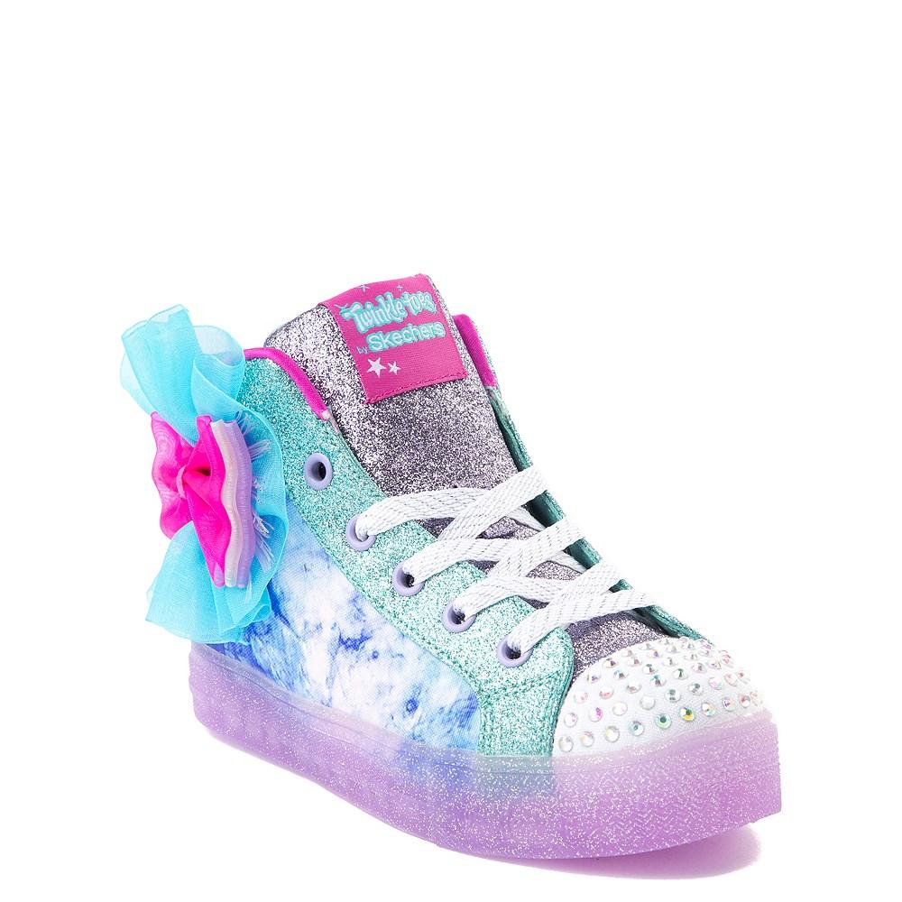Skechers Twinkle Toes Shuffle Brights Sneaker Little Kid Blue Silver