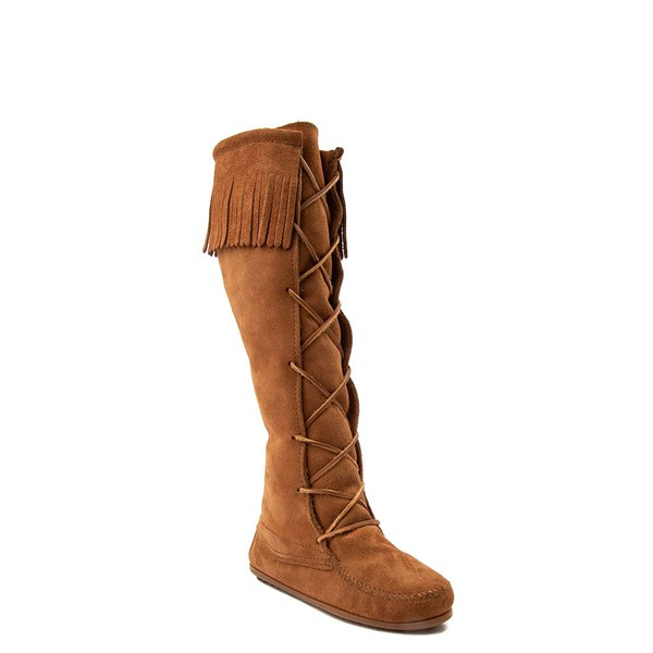 alternate view Womens Minnetonka Front Lace Knee High Boot - BrownALT1