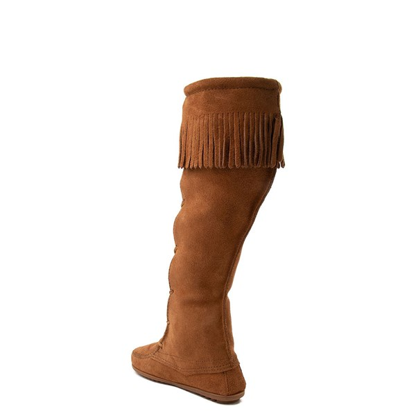 alternate view Womens Minnetonka Front Lace Knee High Boot - BrownALT2