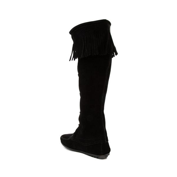 alternate view Womens Minnetonka Front Lace Knee High Boot - BlackALT1