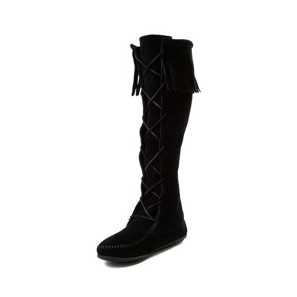 alternate view Womens Minnetonka Front Lace Knee High Boot - BlackALT2