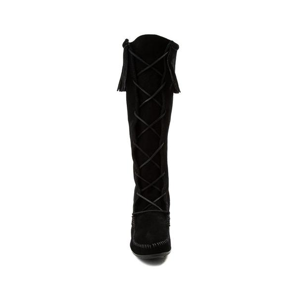 alternate view Womens Minnetonka Front Lace Knee High Boot - BlackALT4