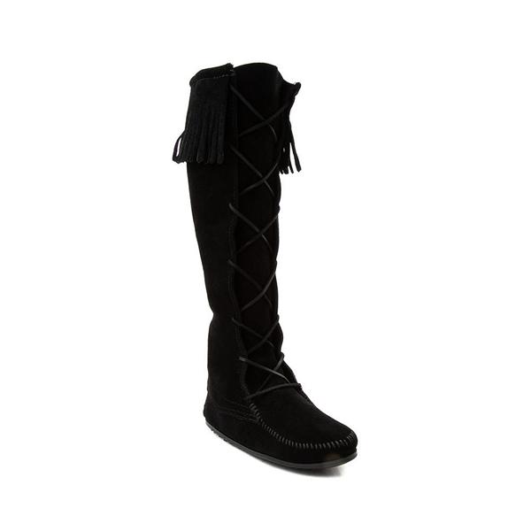 alternate view Womens Minnetonka Front Lace Knee High Boot - BlackALT5