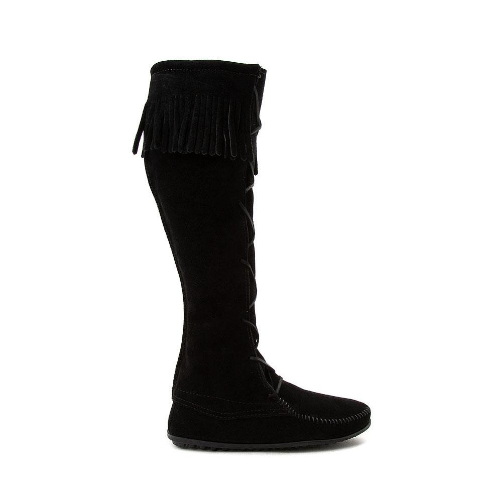 Womens Minnetonka Front Lace Knee High Boot - Black