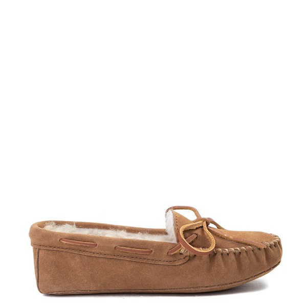 Main view of Womens Minnetonka Sheepskin Softsole Moccasin Slipper - Tan