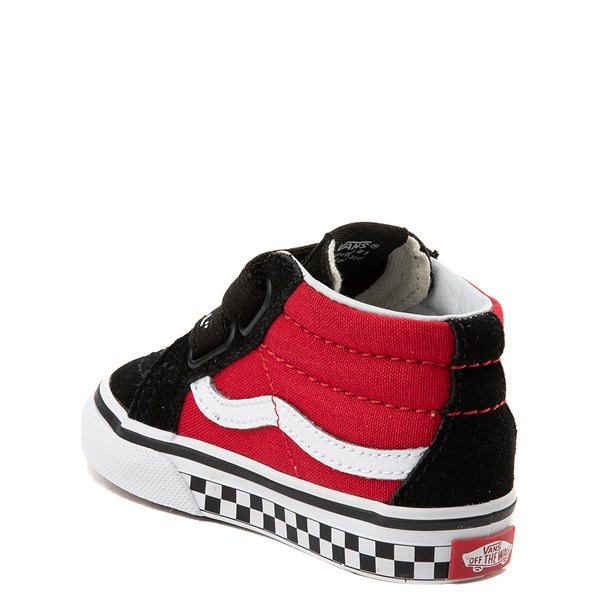 alternate view Vans Sk8 Mid Reissue V Logo Pop Checkerboard Skate Shoe - Baby / Toddler - Black / RedALT2