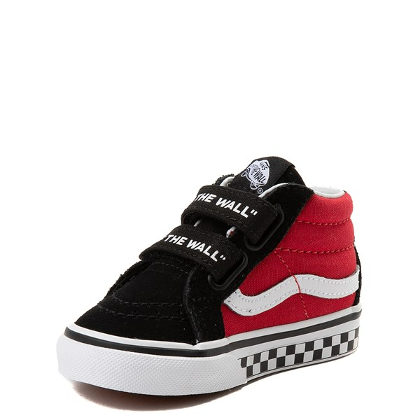 alternate view Vans Sk8 Mid Reissue V Logo Pop Checkerboard Skate Shoe - Baby / Toddler - Black / RedALT3