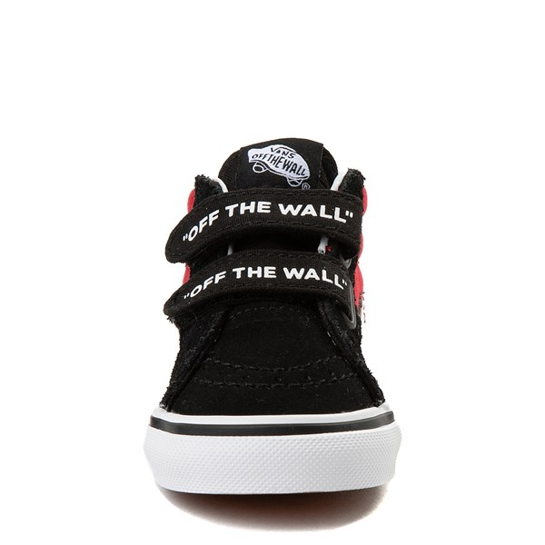 alternate view Vans Sk8 Mid Reissue V Logo Pop Checkerboard Skate Shoe - Baby / Toddler - Black / RedALT4