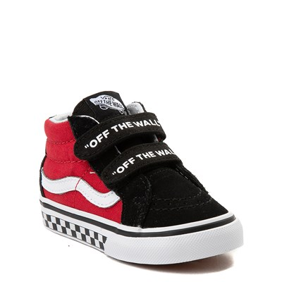 Alternate view of Vans Sk8 Mid Reissue V Logo Pop Checkerboard Skate Shoe - Baby / Toddler - Black / Red
