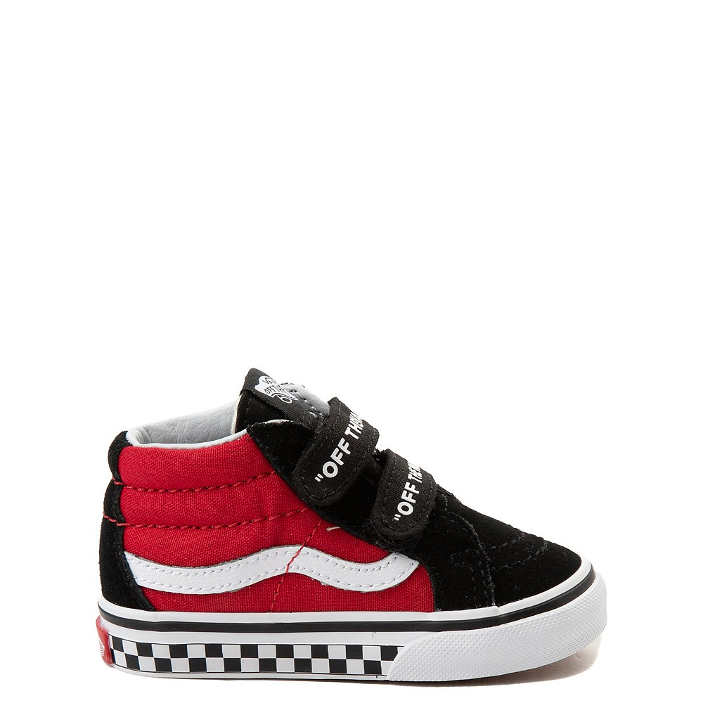 Vans Sk8 Mid Reissue V Logo Pop Checkerboard Skate Shoe - Baby / Toddler - Black / Red