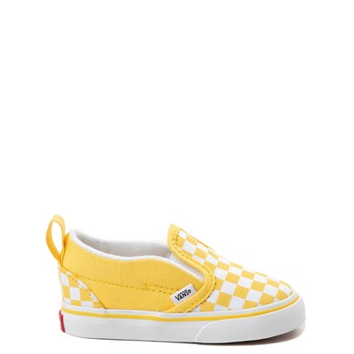 Main view of Vans Slip On V Checkerboard Skate Shoe - Baby / Toddler - Yellow / White