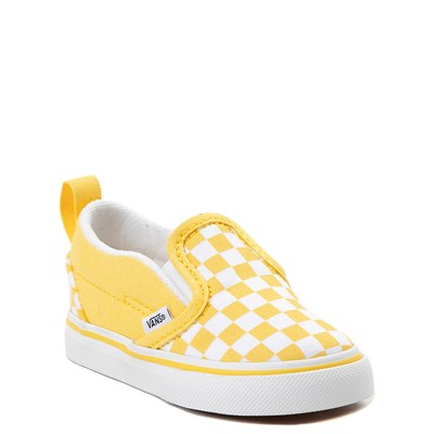 Alternate view of Vans Slip On V Checkerboard Skate Shoe - Baby / Toddler - Yellow / White