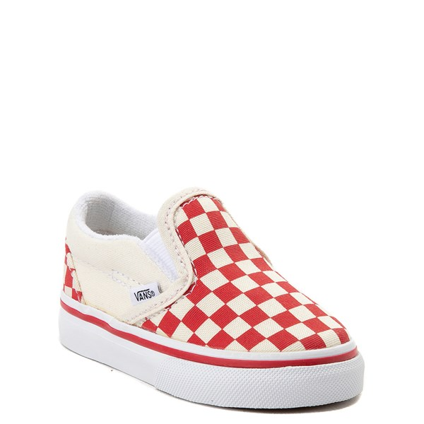 alternate view Vans Slip On Checkerboard Skate Shoe - Baby / Toddler - Racing RedALT1