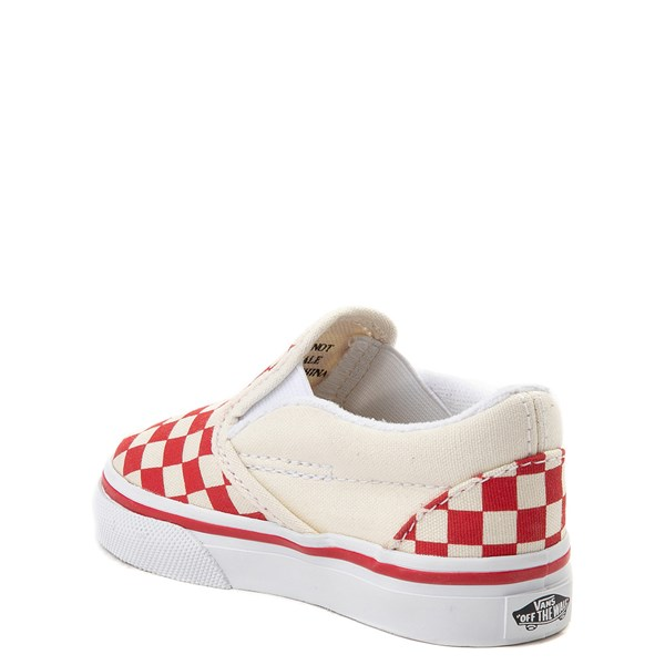 alternate view Vans Slip On Checkerboard Skate Shoe - Baby / Toddler - Racing RedALT2
