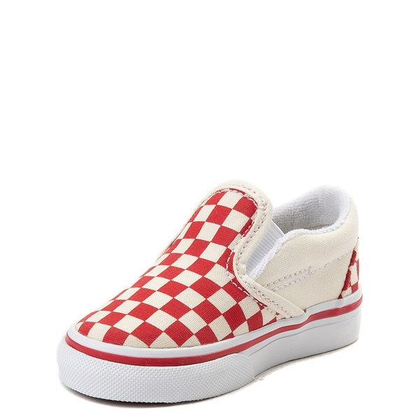 alternate view Vans Slip On Checkerboard Skate Shoe - Baby / Toddler - Racing RedALT3