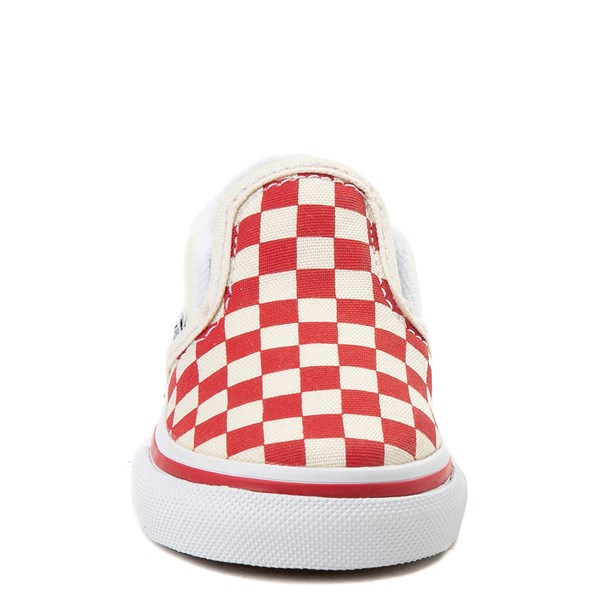 alternate view Vans Slip On Checkerboard Skate Shoe - Baby / Toddler - Racing RedALT4