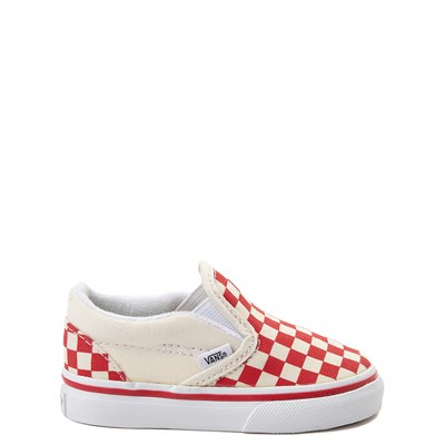 Main view of Vans Slip On Checkerboard Skate Shoe - Baby / Toddler - Racing Red
