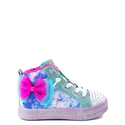 Main view of Skechers Twinkle Toes Shuffle Brights Sneaker - Toddler - Blue / Silver