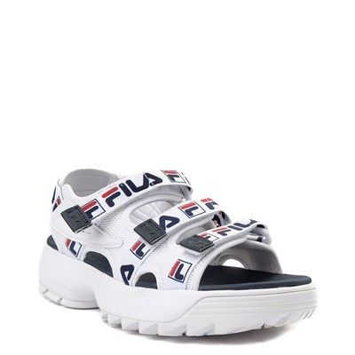 Alternate view of Womens Fila Disruptor Sandal - White / Navy / Red