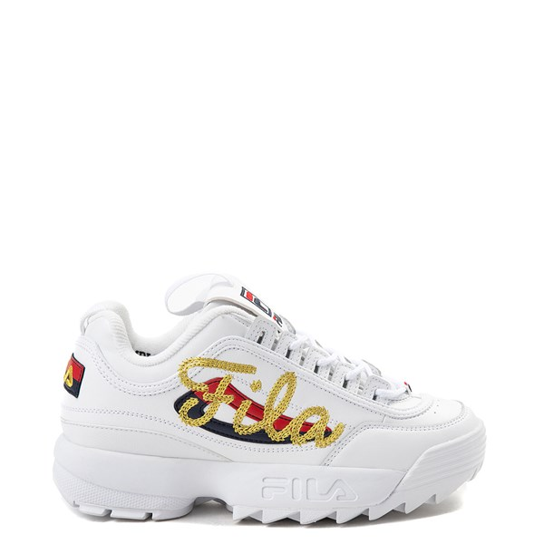 Womens Fila Disruptor 2 Premium Script Athletic Shoe - White / Gold