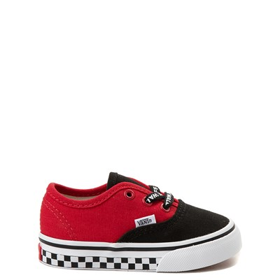Main view of Vans Authentic Logo Pop Checkerboard Skate Shoe - Baby / Toddler - Black / Red