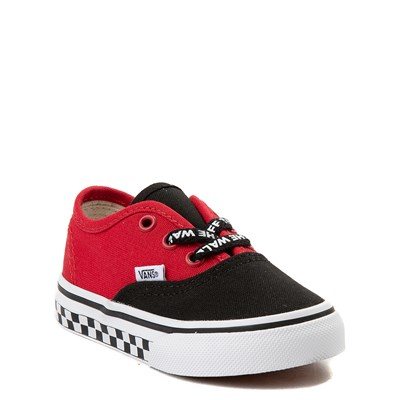 Alternate view of Vans Authentic Logo Pop Checkerboard Skate Shoe - Baby / Toddler - Black / Red