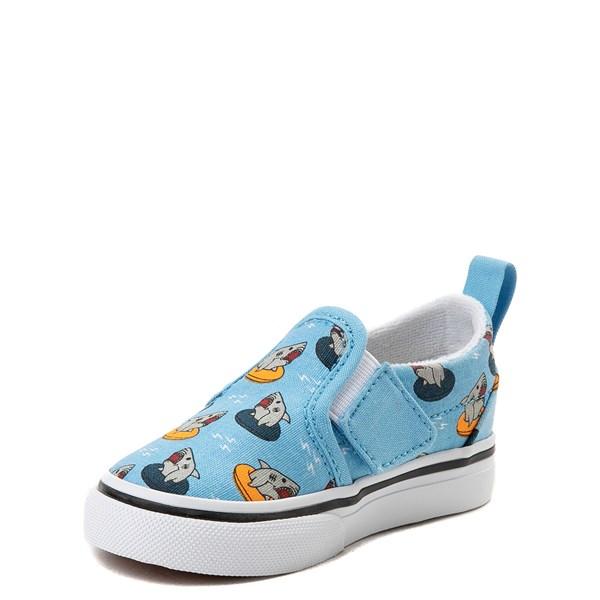 alternate view Vans Slip On V Floatie Sharks Skate Shoe - Baby / Toddler - Sailor BlueALT3