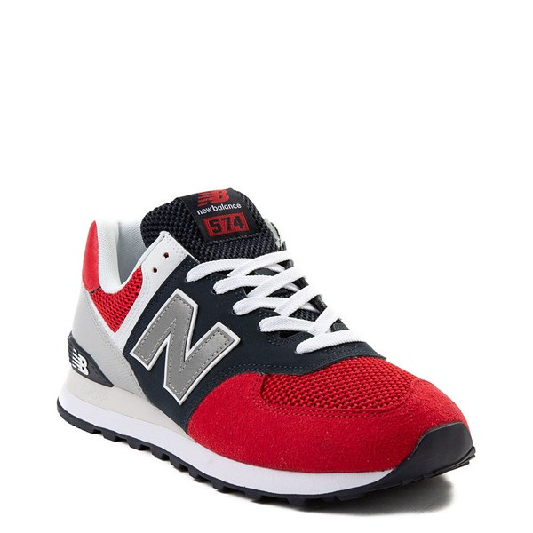 alternate view Mens New Balance 574 Athletic Shoe - Red / Navy / GrayALT1