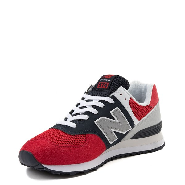 alternate view Mens New Balance 574 Athletic Shoe - Red / Navy / GrayALT3