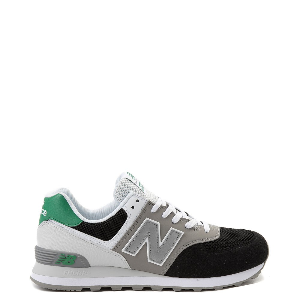 Mens New Balance 574 Athletic Shoe - Black / Gray / Green