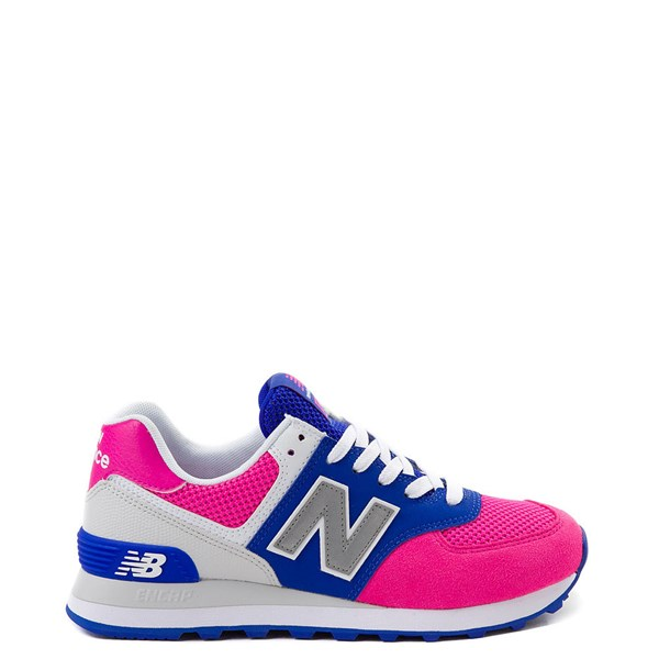 Default view of Womens New Balance 574 Athletic Shoe - Pink / Blue / Silver