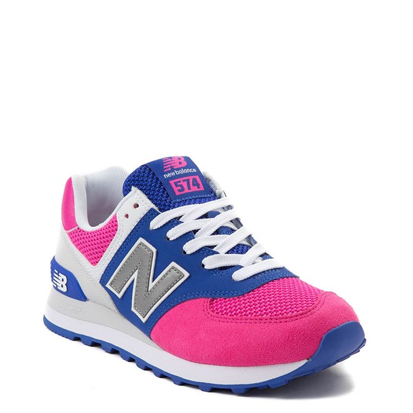 alternate view Womens New Balance 574 Athletic Shoe - Pink / Blue / SilverALT1