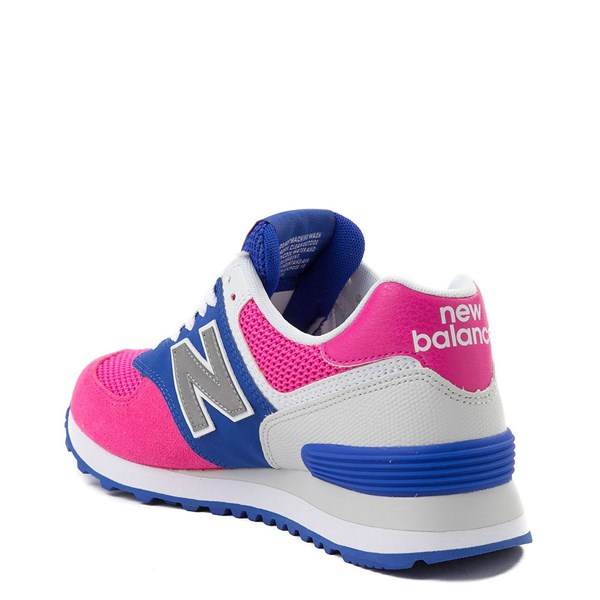 alternate view Womens New Balance 574 Athletic Shoe - Pink / Blue / SilverALT2