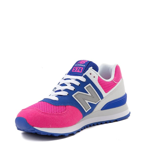 alternate view Womens New Balance 574 Athletic Shoe - Pink / Blue / SilverALT3