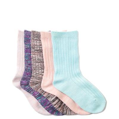 Girls Toddler Mixed Effect Crew Socks 5 Pack