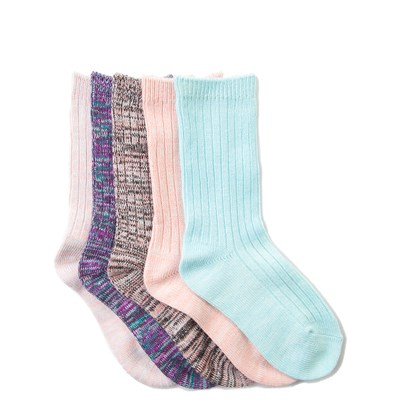 Girls Youth Mixed Effect Crew Socks 5 Pack