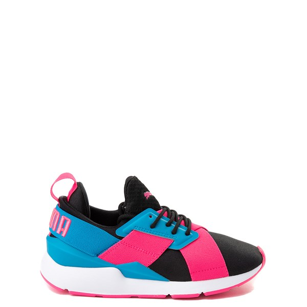 Puma Muse Satin Athletic Shoe - Big Kid - Pink / Blue