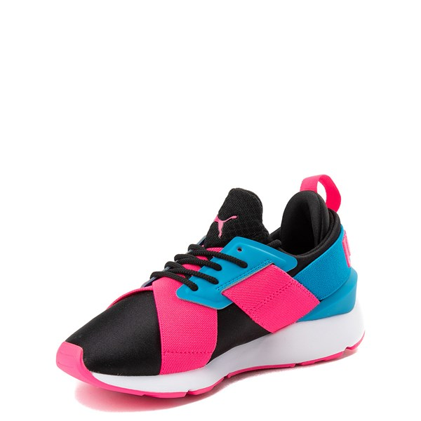 alternate view Puma Muse Satin Athletic Shoe - Big Kid - Pink / BlueALT3