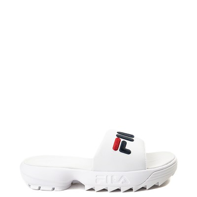 Main view of Womens Fila Disruptor Slide Sandal - White / Navy / Red