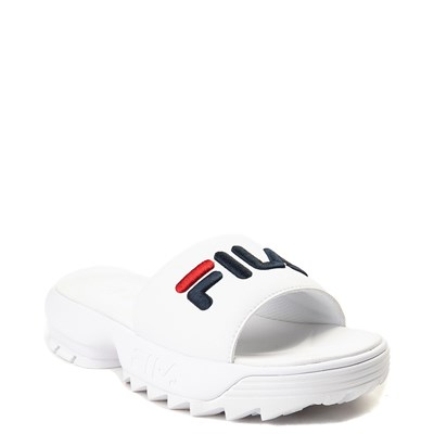 Alternate view of Womens Fila Disruptor Slide Sandal - White / Navy / Red