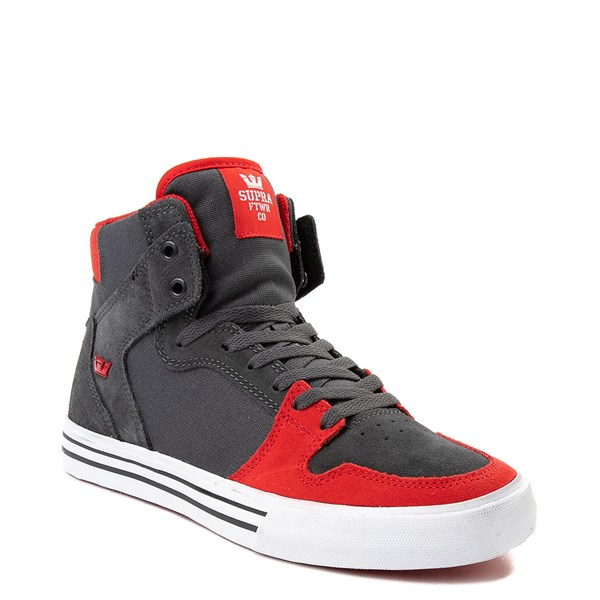 alternate view Mens Supra Vaider Hi Skate Shoe - Gray / RedALT1