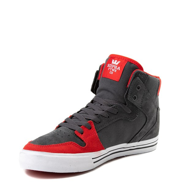 alternate view Mens Supra Vaider Hi Skate Shoe - Gray / RedALT3